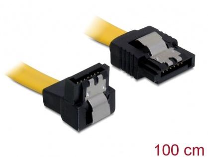 Cablu SATA II 3 Gb/s drept-unghi cu fixare 1M, Delock 82485