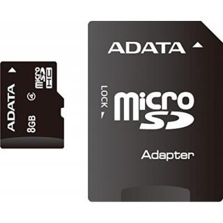 Card de memorie micro SDHC 8GB clasa 4 + adaptor SD, ADATA AUSDH8GCL4-RA1