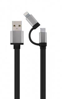 Cablu 2 in 1 USB 2.0 la micro USB-B + adaptor iPhone Lightning 1m Negru, Gembird CC-USB2-AM8PmB-1M-SG