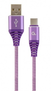 Cablu USB 2.0 la USB-C Premium Alb/Mov brodat 1m, Gembird CC-USB2B-AMCM-1M-PW