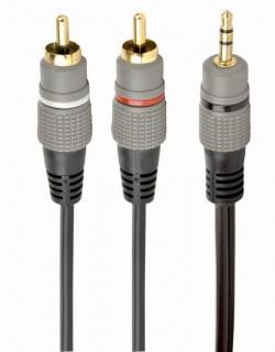 Cablu audio Premium jack 3.5mm la 2 x RCA T-T 10m, Gembird CCA-352-10M