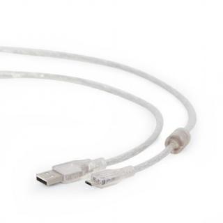 Cablu USB 2.0 la micro USB-B 1.8m transparent, Gembird CCP-mUSB2-AMBM-6-TR
