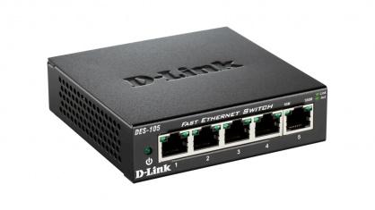Switch 5 porturi 10/100 Mb/s carcasa metalica, D-LINK DES-105