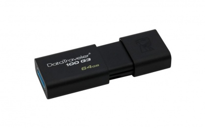 Stick USB 3.0 64GB DataTraveler Negru, Kingston DT100G3/64GB