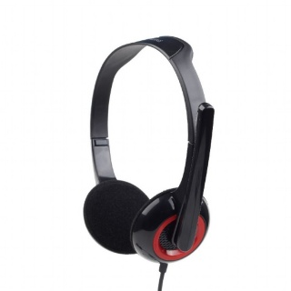 Casti stereo cu microfon Negru & Rosu, Gembird MHS-002