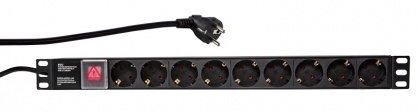 "Prelungitor PDU 19"" 9 prize Schuko 2m Switch ON/Off, Logilink PDU9C02"