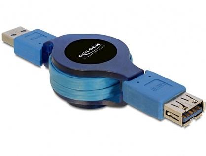 Cablu prelungitor USB 3.0 retractabil T-M 1m, Delock 82649