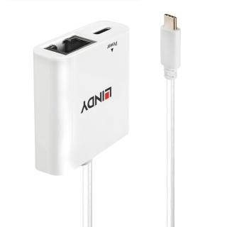 Adaptor USB-C la Gigabit LAN + alimentare USB-C T-M Alb, Lindy L43284