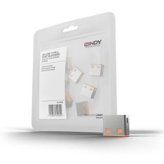 USB Port Blocker 10 bucati portocaliu, Lindy L40463