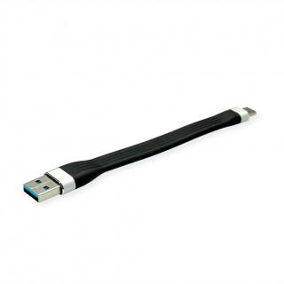 Cablu USB 3.2 Gen 1 A-C silicon 11cm Negru, Roline 11.02.9014
