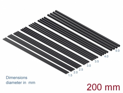 Set 28 buc tuburi termocontractabile negre 200mm, Delock 18988