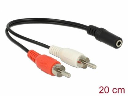 Adaptor audio jack stereo 3.5mm la 2 x RCA M-T 20cm, Delock 85806