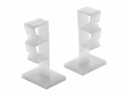 Set 10 bucati suport cu adeziv cu 2 sloturi pentru cablu, Delock 60177