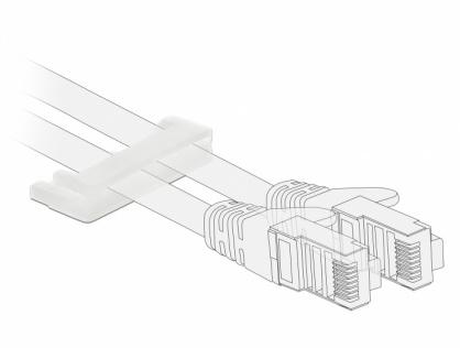 Set 10 bucati suport cu adeziv pentru cablu flat/plat, Delock 60180