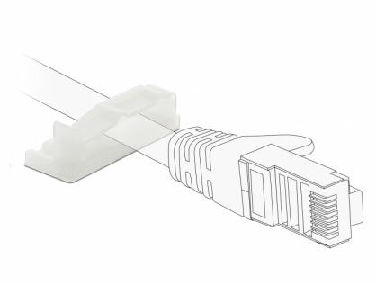 Set 10 bucati suport cu adeziv/2 suruburi pentru cablu flat/plat, Delock 60179
