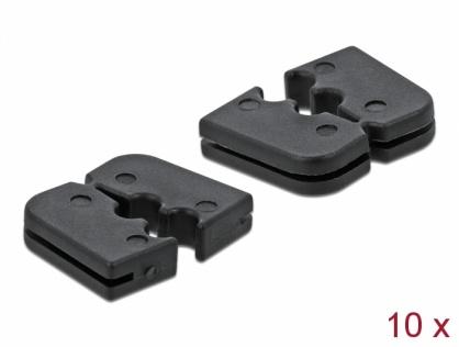 Set 10 buc protectie pentru 2 cabluri dreptunghiular - diametru 2.2mm Negru, Delock 60259