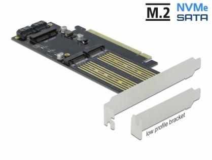PCI Express la 1 x M.2 Key B + 1 x NVMe M.2 Key M + 1 x mSATA LPFF, Delock 90486