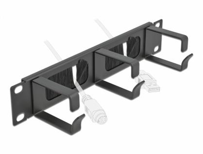 """Organizator cabluri 10"""" 1U pentru cabinet cu 3 inele + perii Negru, Delock 66487"""