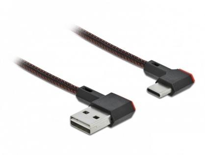 Cablu EASY-USB 2.0 la USB-C unghi stanga/dreapta 2m textil, Delock 85283