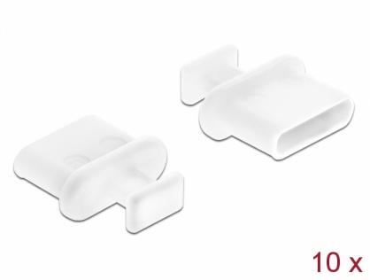 Protectie impotriva prafului pentru conector USB-C mama cu prindere Alb set 10 buc, Delock 64094