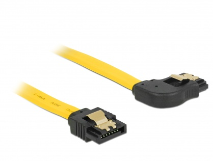 Cablu SATA III 6 Gb/s unghi dreapta - drept cu fixare 50cm, Delock 82829