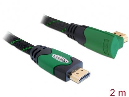 Cablu HDMI 4K v1.4 unghi 90 grade T-T 2m Verde, Delock 82952