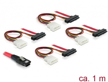 Cablu mini SAS 36 pini SFF 8087 la 4 x SAS 29 pini SFF8482 1m, Delock 83146