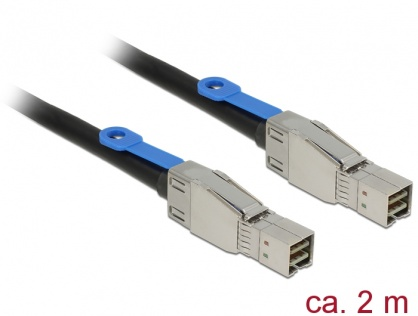 Cablu Mini SAS HD SFF-8644 la Mini SAS HD SFF-8644 2m, Delock 83395