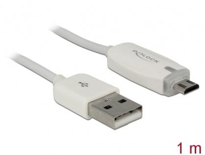 Cablu de date + incarcare USB la micro USB-B 2.0 cu LED 1m, Delock 83604