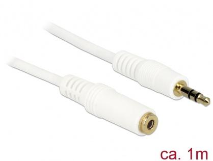 Cablu prelungitor audio jack 3.5mm 1m Alb, Delock 83765