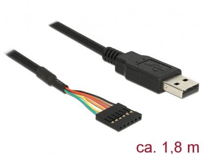 Cablu USB la TTL 6 pini pin header female 1.8 m (5V), Delock 83784