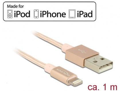 Cablu de date + incarcare Lightning MFI pentru iPhone, iPad, iPod Rose 1m, Delock 83875
