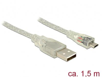 Cablu USB la micro USB-B 2.0 T-T 1.5m transparent, Delock 83899