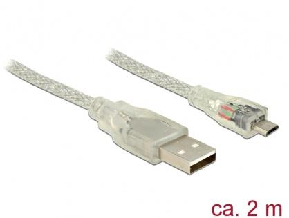 Cablu USB la micro USB-B 2.0 T-T 2m transparent, Delock 83901