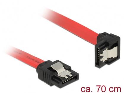 Cablu SATA III 6 Gb/s drept-unghi jos cu fixare rosu 70cm, Delock 83980