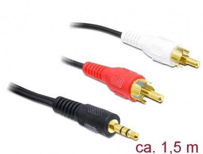 Cablu audio jack stereo 3.5 mm la 2 x RCA T-T 1.5m, Delock 84000