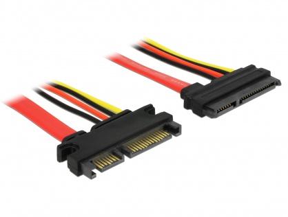 Cablu prelungitor SATA III 22 pini date + alimentare T-M 20cm, Delock 84362