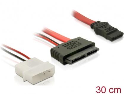 Cablu Micro SATA la alimentare 2 pini Molex 5V + SATA 30cm, Delock 84384