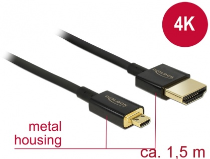 Cablu HDMI la micro HDMI-D T-T 3D 4K 1.5m Slim Premium, Delock 84782