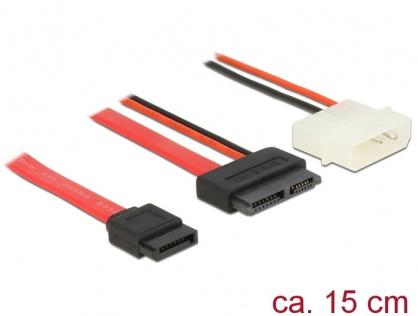 Cablu Slim SATA la SATA 7 pini + 2 pini alimentare M-T 15cm, Delock 84789
