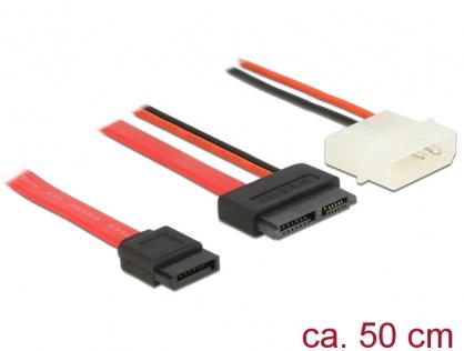 Cablu Slim SATA la SATA 7 pini + 2 pini alimentare M-T 50cm, Delock 84790