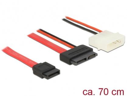 Cablu Slim SATA la SATA 7 pini + 2 pini alimentare M-T 70cm, Delock 84791