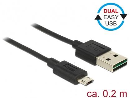 Cablu EASY-USB 2.0 tip A la EASY-USB 2.0 tip Micro-B T-T Negru 0.2m, Delock 84804