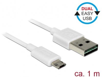 Cablu EASY-USB 2.0 tip A la EASY-USB 2.0 tip Micro-B T-T Alb 1m, Delock 84807