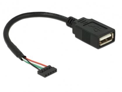 Cablu USB 2.0 pin header 2.00 mm 5 pini la USB 2.0-A M-M 15cm, Delock 84831