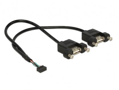 Cablu USB 2.0 pin header female 2.00 mm 10 pini la 2 x USB 2.0-A 25cm, Delock 84832