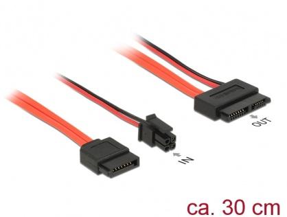 Cablu Slim SATA 13 pini la SATA III date + alimentare 4 pini 30cm, Delock 84848