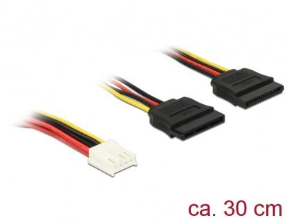 Cablu de alimentare Floppy 4 pini la 2 x SATA 15 pini 30cm, Delock 84859