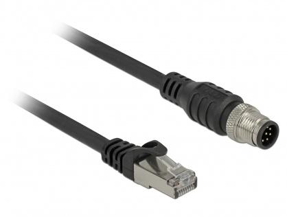 Cablu RJ45 la M12 (8 pini) A-coded Cat.5e SFTP T-T 2m, Delock 84923