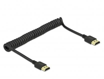 Cablu HDMI spiralat 4K@60Hz HDR T-T Negru, Delock 84967